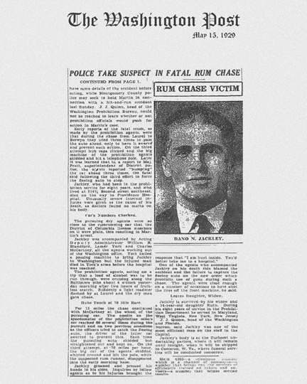 Image of The Washington Post newspaper article, dated May 13, 1929, with headline, Police take Suspect in Fatal Rum Chase
