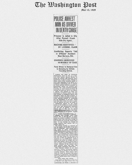 Image of The Washington Post newspaper article, dated May 13, 1929, with headline, Police Arrest Man as Driver in Death Chase
