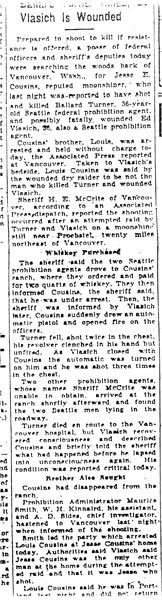 Image of newspaper article with title: Vlasich is Wounded