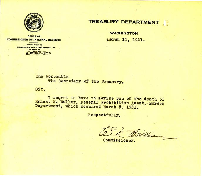 Death Letter from the Treasury Department - Earnest Walter Walker