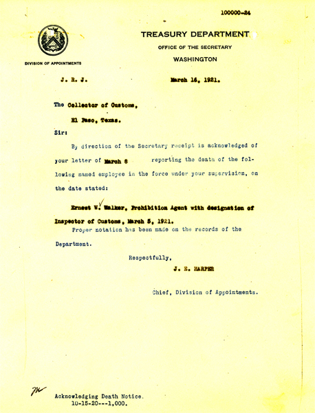 Death Letter from the Treasury Department - Earnest Walter Walker 2