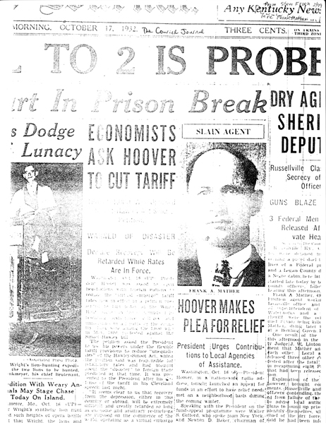 Image of newspaper article with headline: Dry Agents Sheriff Deputy