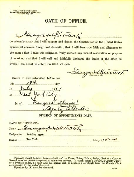 Oath of Office for Geoge Stewart