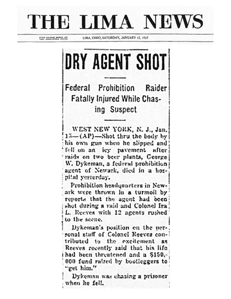 Image of the The Lima News newspaper article, dated January 15, 1927, titled Dry Agent Shot