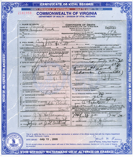 Death Certificate of Howard Fisher | Bureau of Alcohol, Tobacco ...