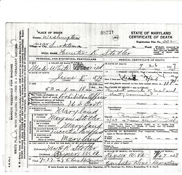 Image of Hunter R. Stotler's certificate of death