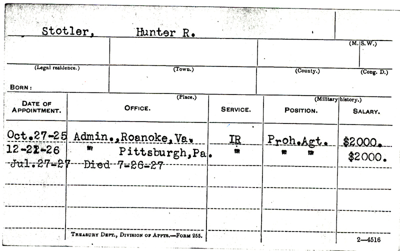 Image of Hunter R. Sotler's service record card