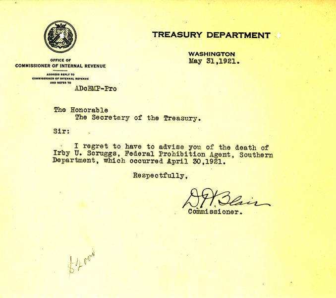 Letter announcing the death of Irby Scruggs.