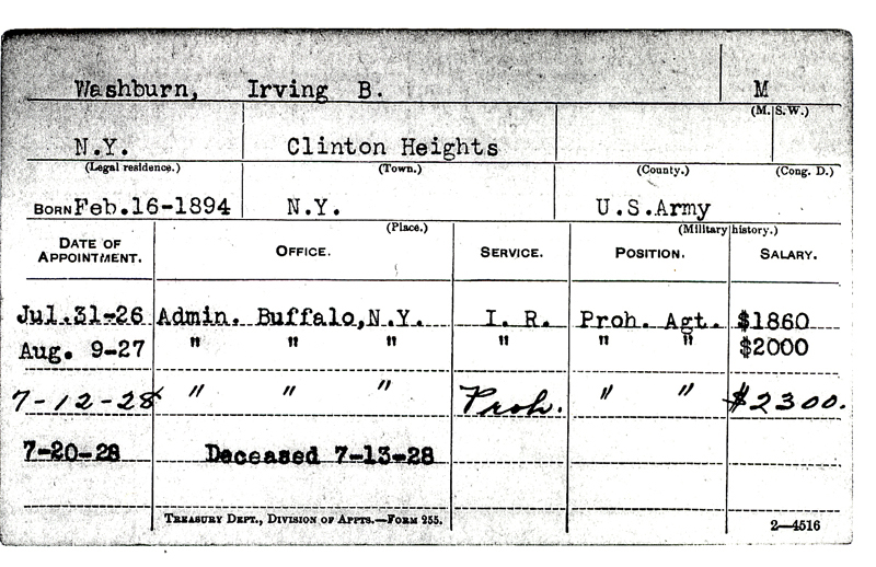 Image of a service record card for Irving B. Washburn