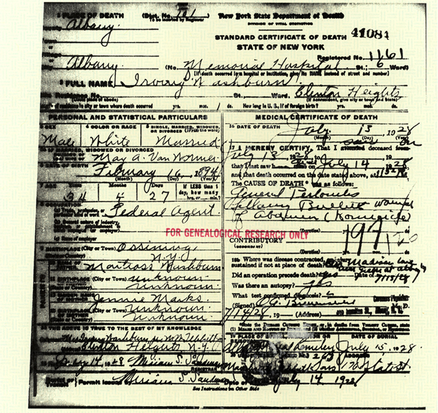 Image of Warren C. Frahm certificate of death