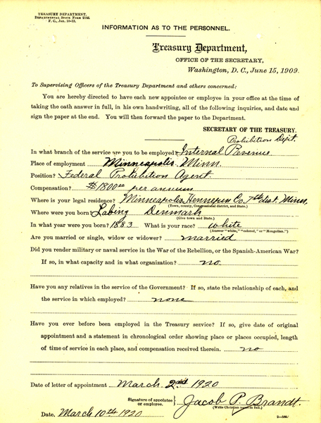 Image of Jacob P Brandt oath of office document