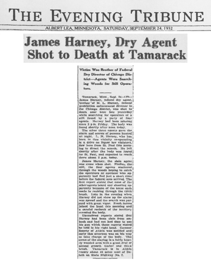 Image of newspaper article from The Evening Tribune, dated September 24, 1932, with headline: James Harney, Dry Agent Shot to Death at Tamarack