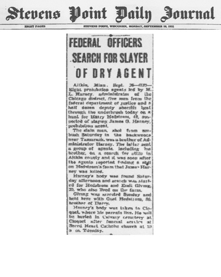 Image of newspaper article from Stevens Point Daily Journal, with headline: Federal Officers Search for Slayer of Dry Agent