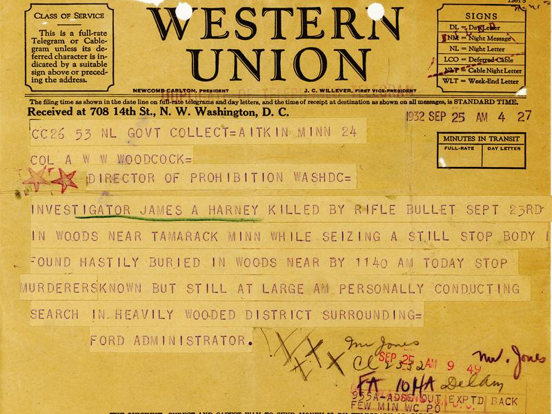 Image of telegram regarding the death of Investigator James Harney
