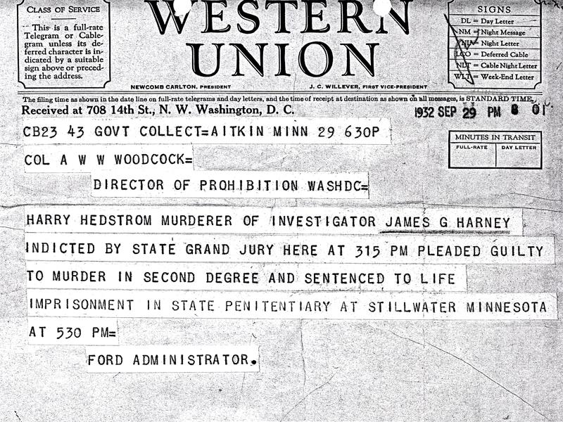 Image of telegram regarding the indictment of Harry Hedstrom for the murder of Investigator James Harney