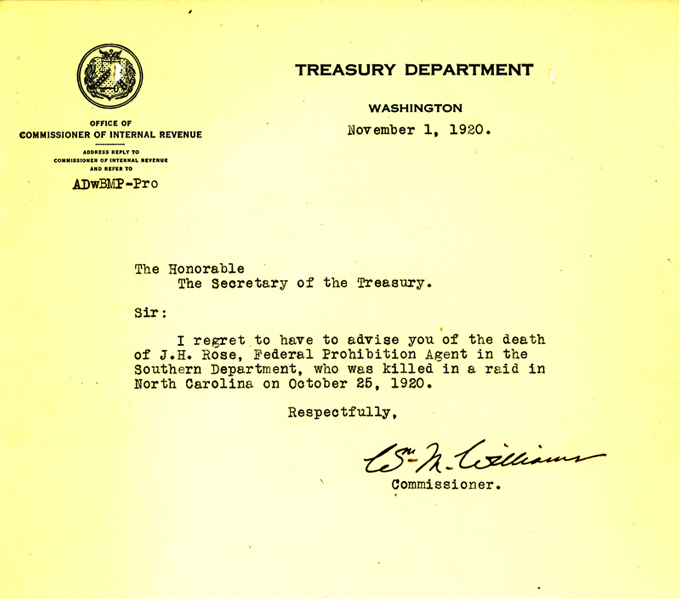 Picture of the death announcement from the Treasury Department regarding James Holland Rose.