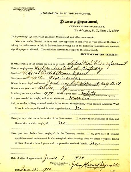Personnel Document of John Reynolds