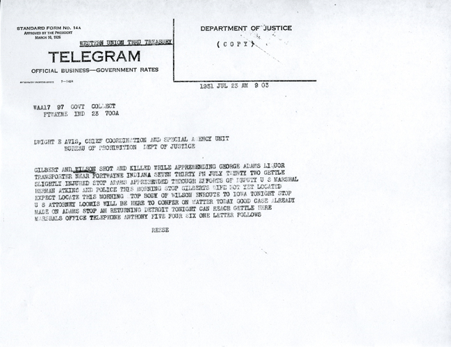 Image of telegram regarding the death of John Wilson
