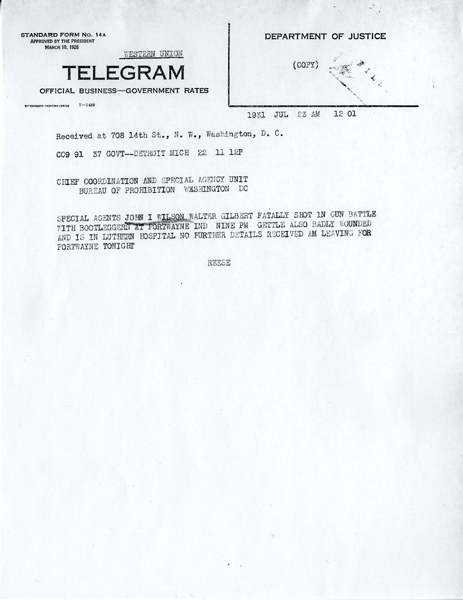 Image of telegram relating to the shooting of John Wilson