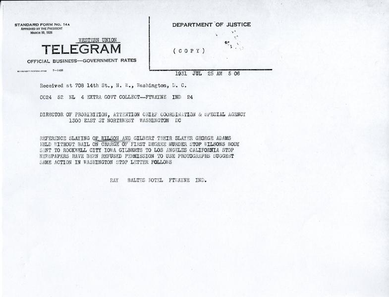 Image of telegram regarding the apprehension of the shooter of John Wilson