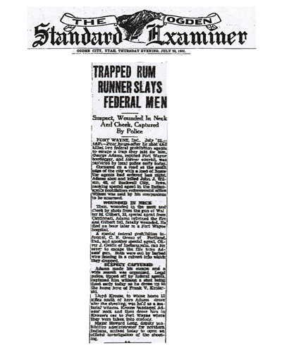Image of newspaper article from The Ogden Standard Examiner, dated July 29, 1931, with headline: Trapped Rum Runner Slays Federal Men