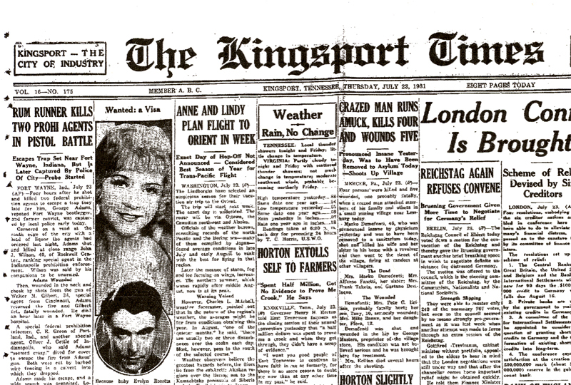 Image of newspaper article from The Kingsport Times, dated July 23, 1931 with headline: Rum Runner Kills Two Prohi Agents in Pistol Battle