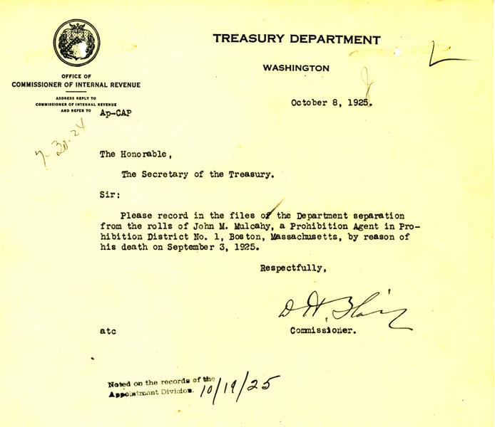 Telegram announcing the death of John Mulcahy