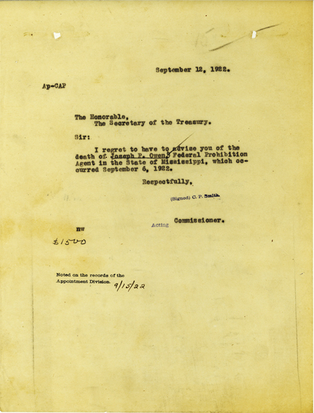 Telegram from the Treasury Department announcing the death of Joseph Owen