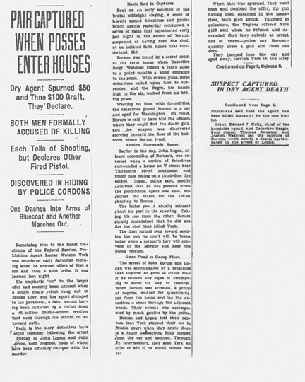 Image of a newspaper article, with the headline, Pair Captured When Posses Enter Houses