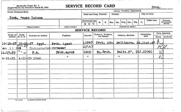 Image of a service record card for Lamar W. York