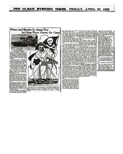 Image of newspaper article in the Olean Evening Times, dated April 27, 1933 with headline: Piracy and Murder in Boose War As Crime Wave Grows on Coast