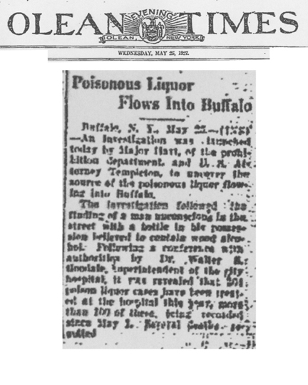Image of the Olean Evening Times newspaper article, dated May 25, 1927, titled Poisonous Liquor Flows Into Buffalo