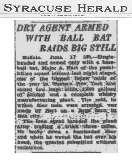 Image of The Syracuse Herald newspaper article, dated June 17, 1927, titled Dry Agent Armed with Ball Bat Raids Big Still