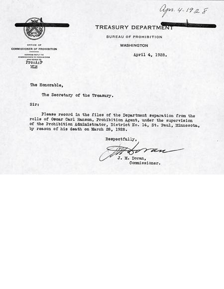 Image of a telegram regarding the death of Oscar C. Hanson