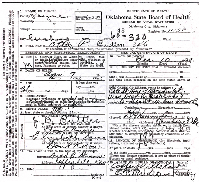Image of Otto P. Butler's certificate of death