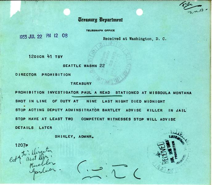 Image of telegram regarding the death of Investigator Paul Read