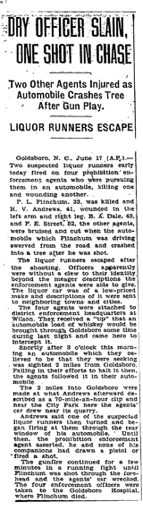 Image of The Washington Post newspaper article, dated June 18, 1930, with the headline, Dry Officer Slain, One Shot in Chase