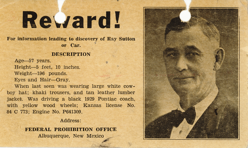 Image of the reward poster for information on Ray Sutton