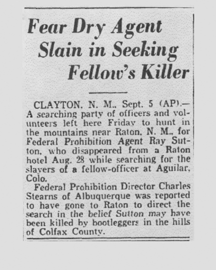 Image of newspaper article with the headline, Fear Dry Agent Slain in Seeking Fellow's Killer
