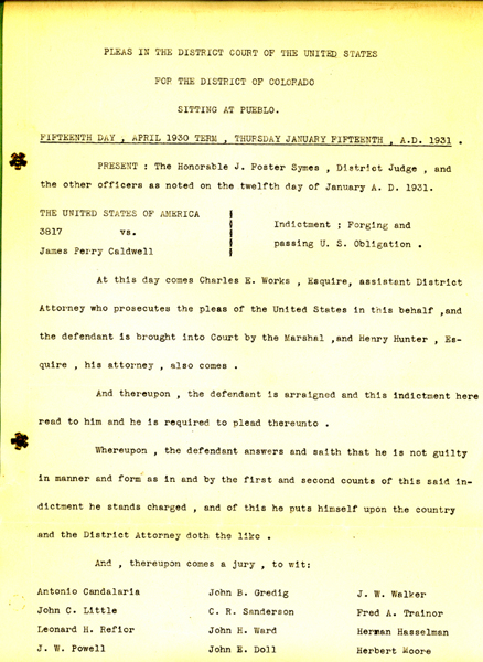 Image of an indictment against James P. Caldwell