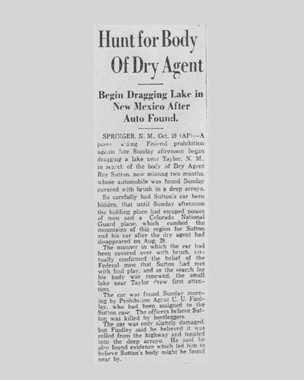 Image of newspaper article with the headline, Hunt for Body of Dry Agent