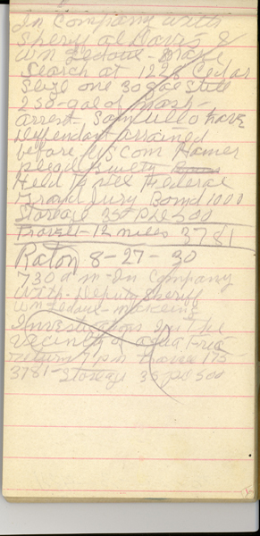Image of Ray Sutton's notepad.
