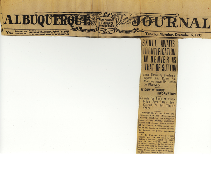 Image of the Albuquerque Journal newspaper article, dated December 5, 1933, with the headline, Skull Awaits Identification in Denver as That of Sutton