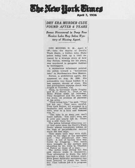 Image of the New York Times newspaper article, dated April 7, 1936, with the headline, Dry Era Murder Clue Found After 6 Years