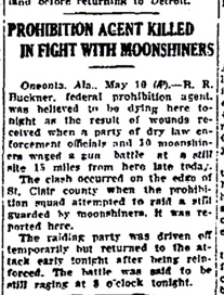Image of a newspaper article with headline - Prohibition Agent Killed in Fight with Moonshiners
