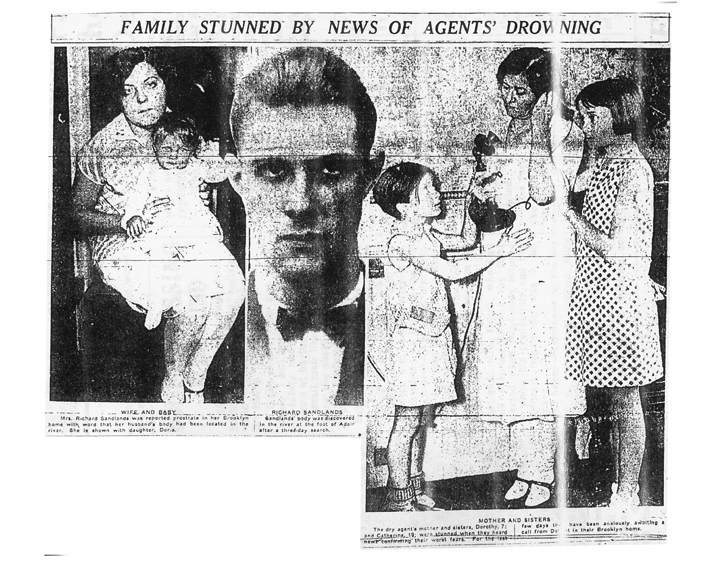 Image of photos in a newspaper with the headline, Family Stunned by News of Agents' Drowning