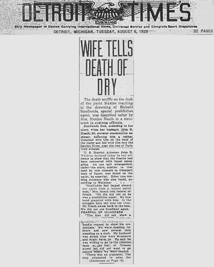 Image of the Detroit Times newspaper article, dated August 6, 1929, with the headline, Wife Tells Death of Dry