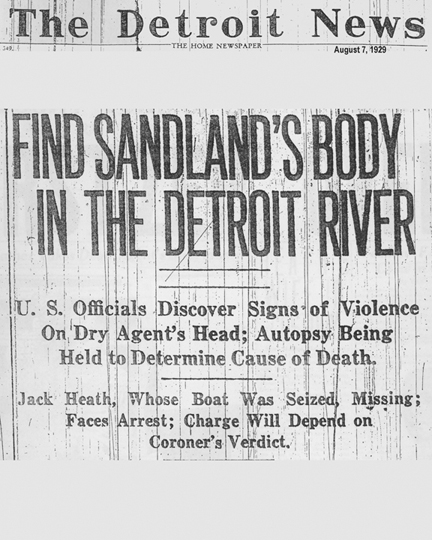Image of the Detroit News article's header, dated August 7, 1929, with the headline, Find Sandland's Body in the Detroit River