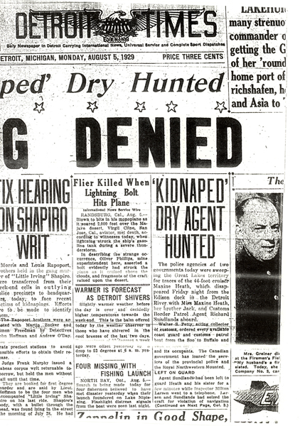 Image of the Detroit Times newspaper article, dated August 5, 1929, with the headline, Kidnaped Dry Agent Hunted