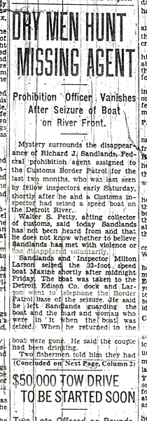 Image of a newspaper article with the headline, Dry Men Hunt Missing Agent